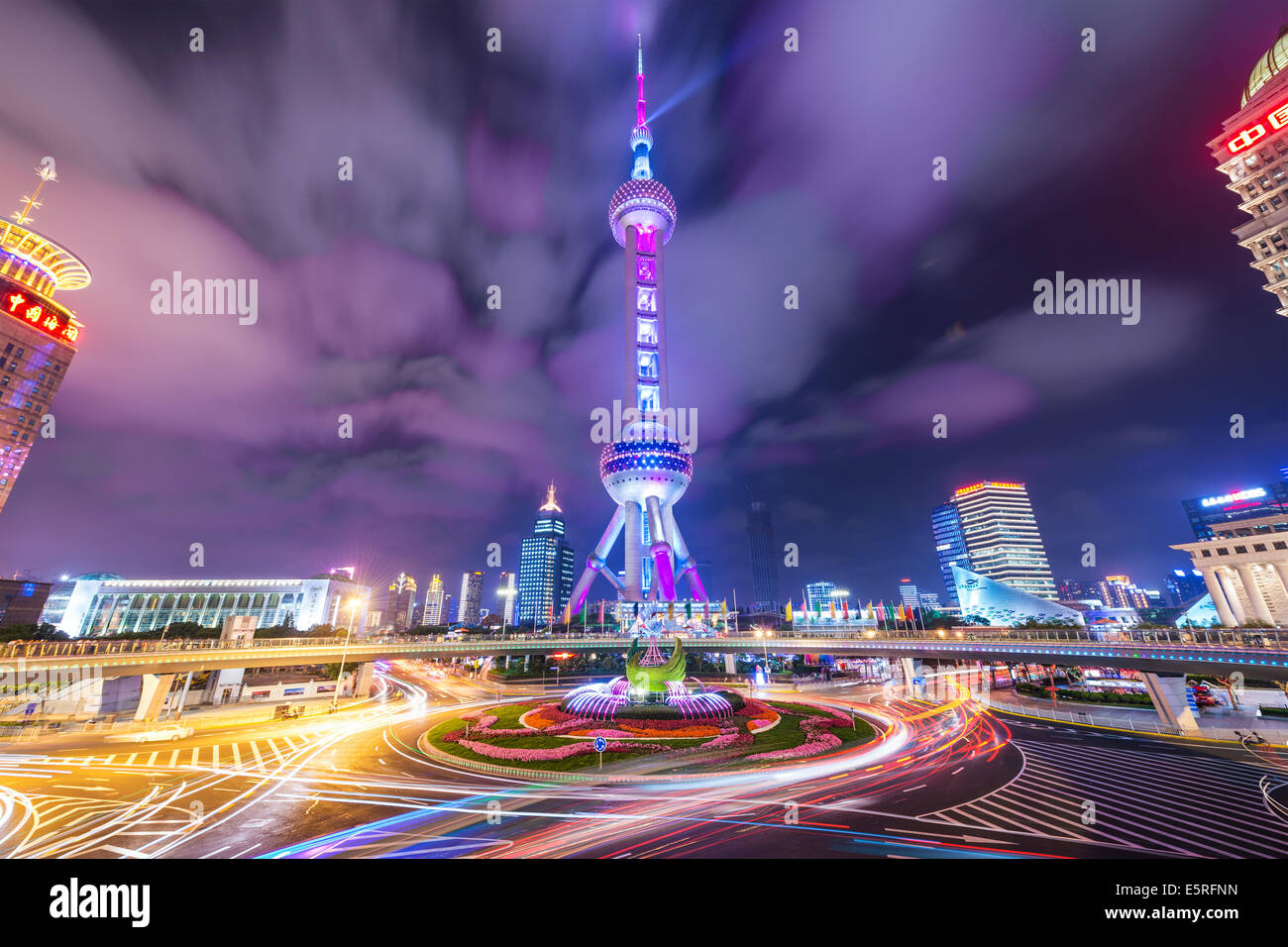 The Oriental Pearl Tower at night in Lujiazui Financial District of Shanghai, China. - Stock Image