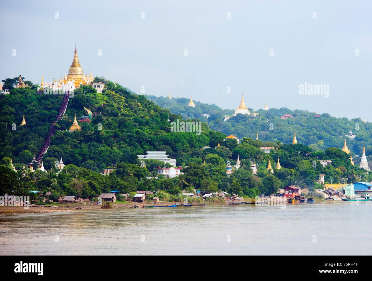 Southeast Asia, Myanmar (Burma), Mandalay, Sagaing Hill, Irrawaddy River - Stock Image