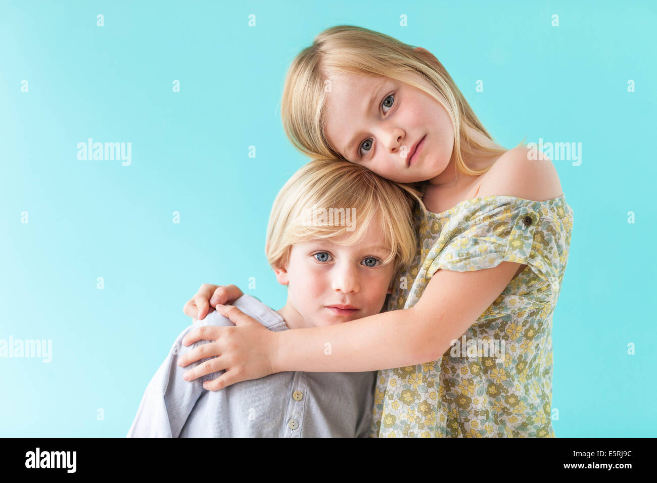 5 and 7 year old brother and sister. Stock Photo