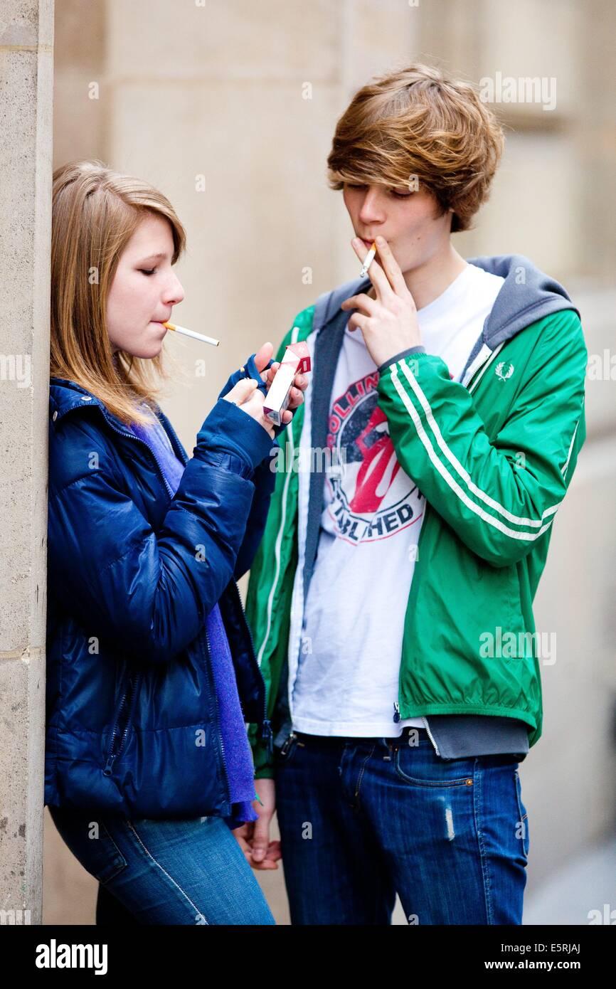 Teenagers Smoking Cigarettes School Stock Photos