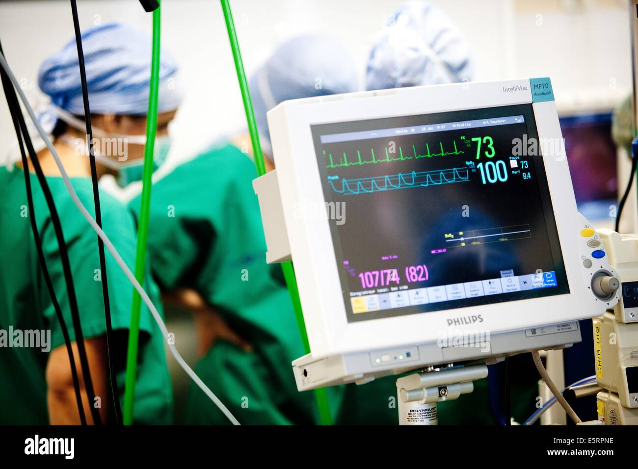 Anaesthetic monitoring equipment during surgery, St Antoine hospital, Paris. - Stock Image