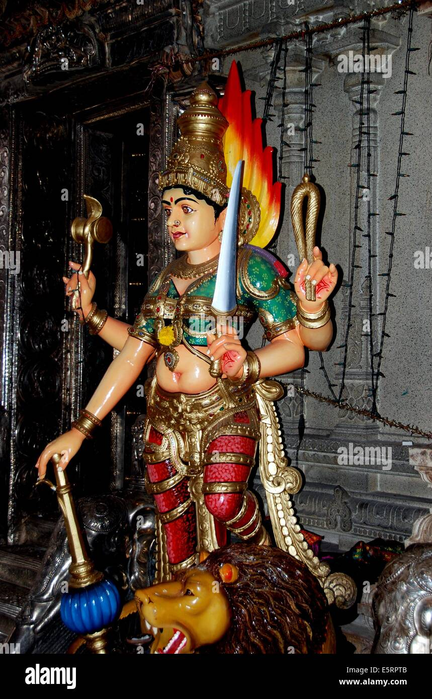 SINGAPORE:  Hindu deity with four arms bearing a sword inside the Sri Veeramakaliamman Temple in Little India - Stock Image