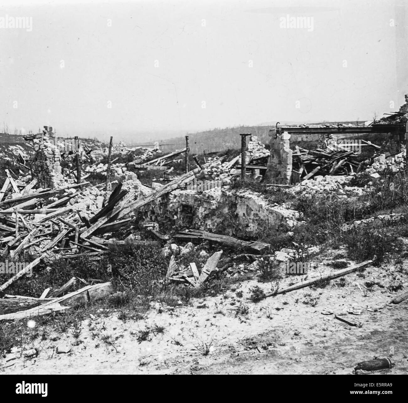 La Malmaison farm completely destroyed during the Battle of the Chemin des Dames in 1917, Aisne, France. - Stock Image