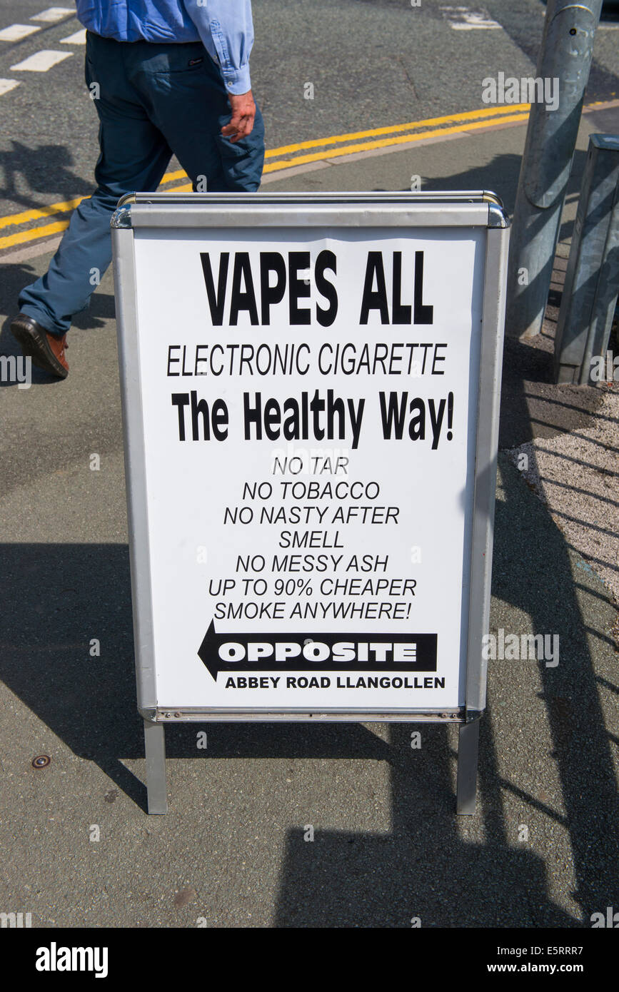 A sign advertising electronic cigarettes in Llangollen, Wales. Stock Photo