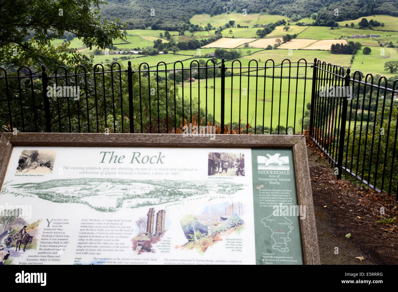 Interpretation Board and View from Pulpit Rock on the Panorama Walk Pateley Bridge North Yorkshire England - Stock Image