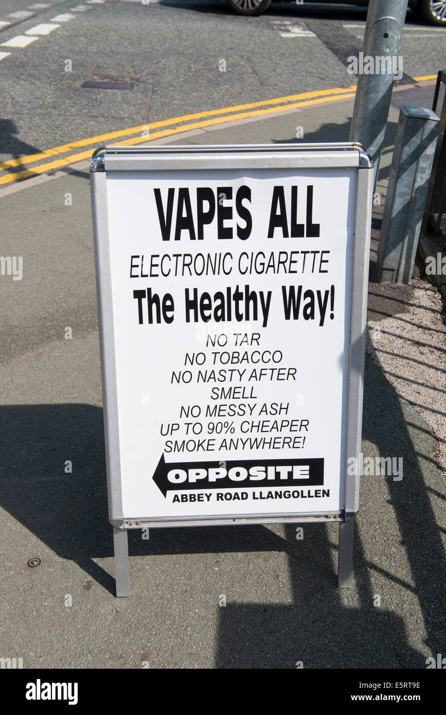 A sign advertising electronic cigarettes in Llangollen, Wales. - Stock Image