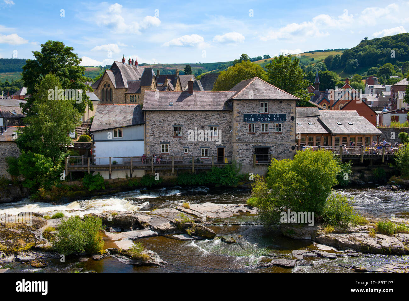 The Corn Mill and the River Dee at Llangollen, Denbighshire, Wales, UK Stock Photo
