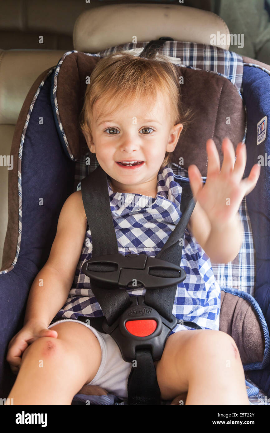 20 month old baby girl on a baby car seat Stock Photo ...