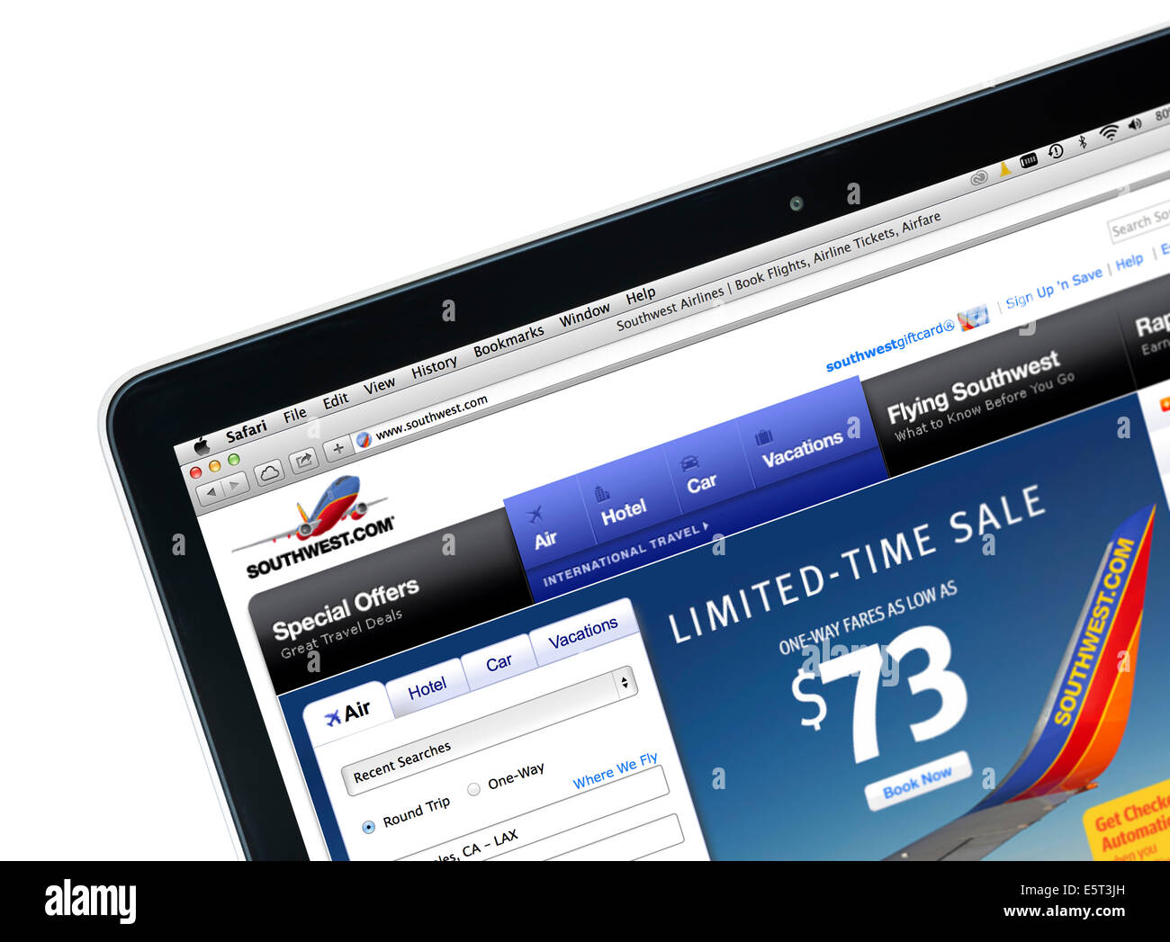 Booking a Southwest Airlines flight on a 13' Apple MacBook Pro computer, USA - Stock Image