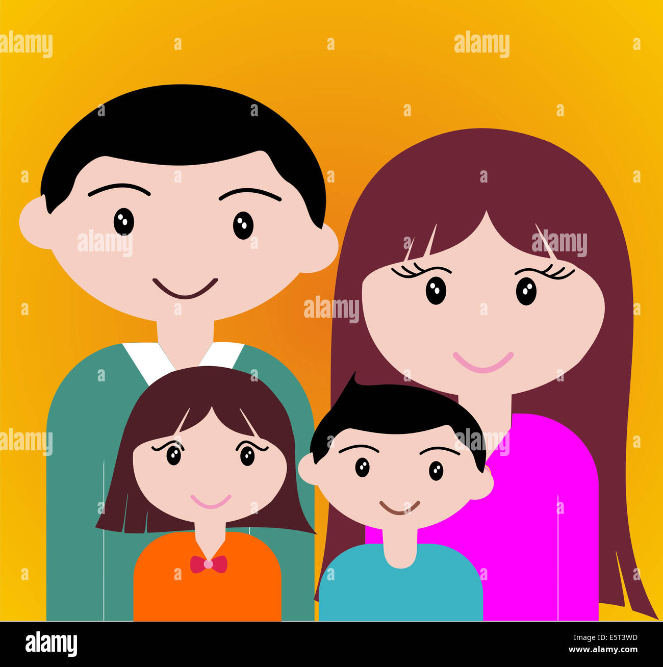 Four member of happy family portrait together. - Stock Image