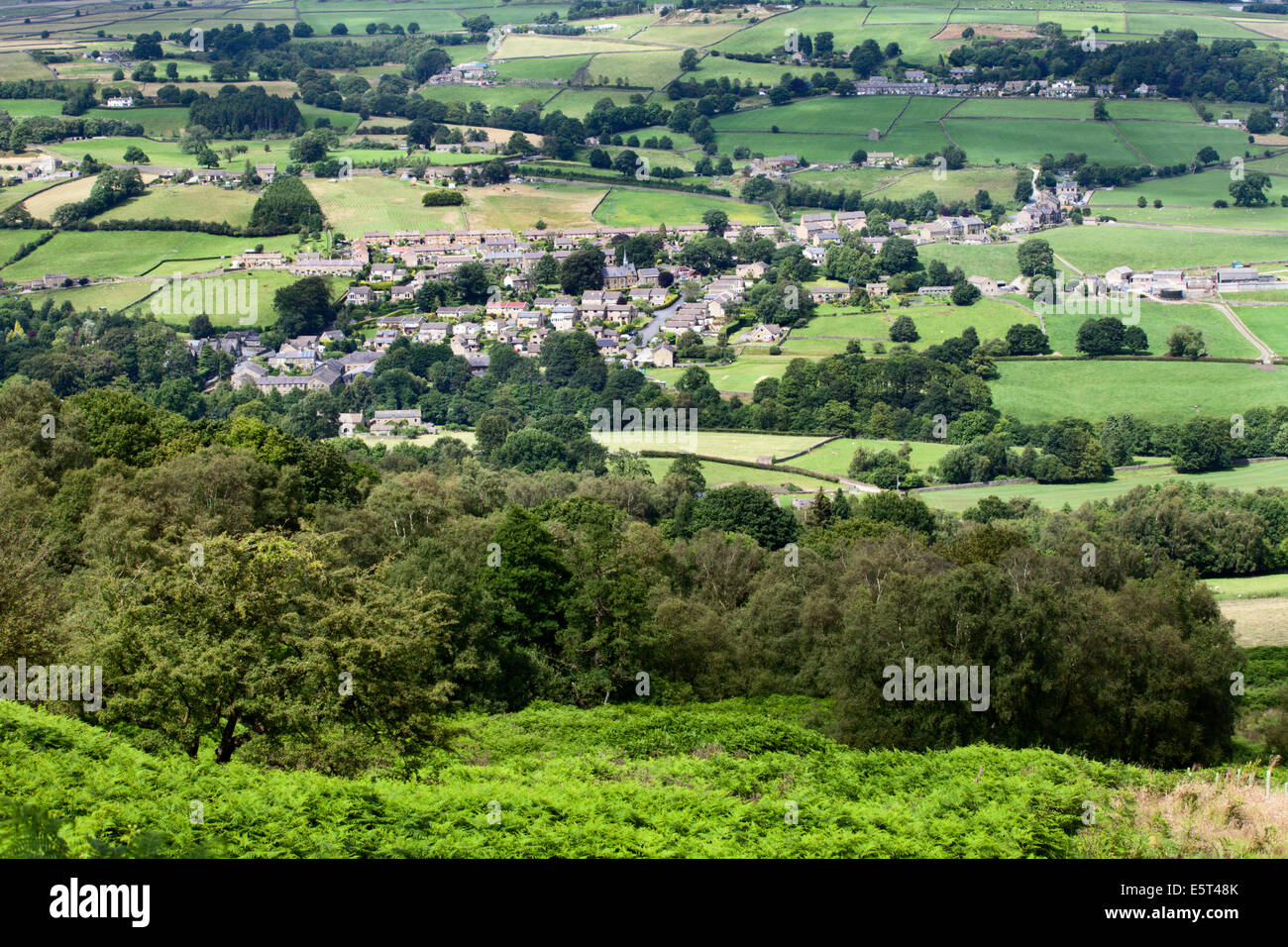 Glasshouses Village in Nidderdale from Guise Cliff near Pateley Bridge North Yorkshire England - Stock Image