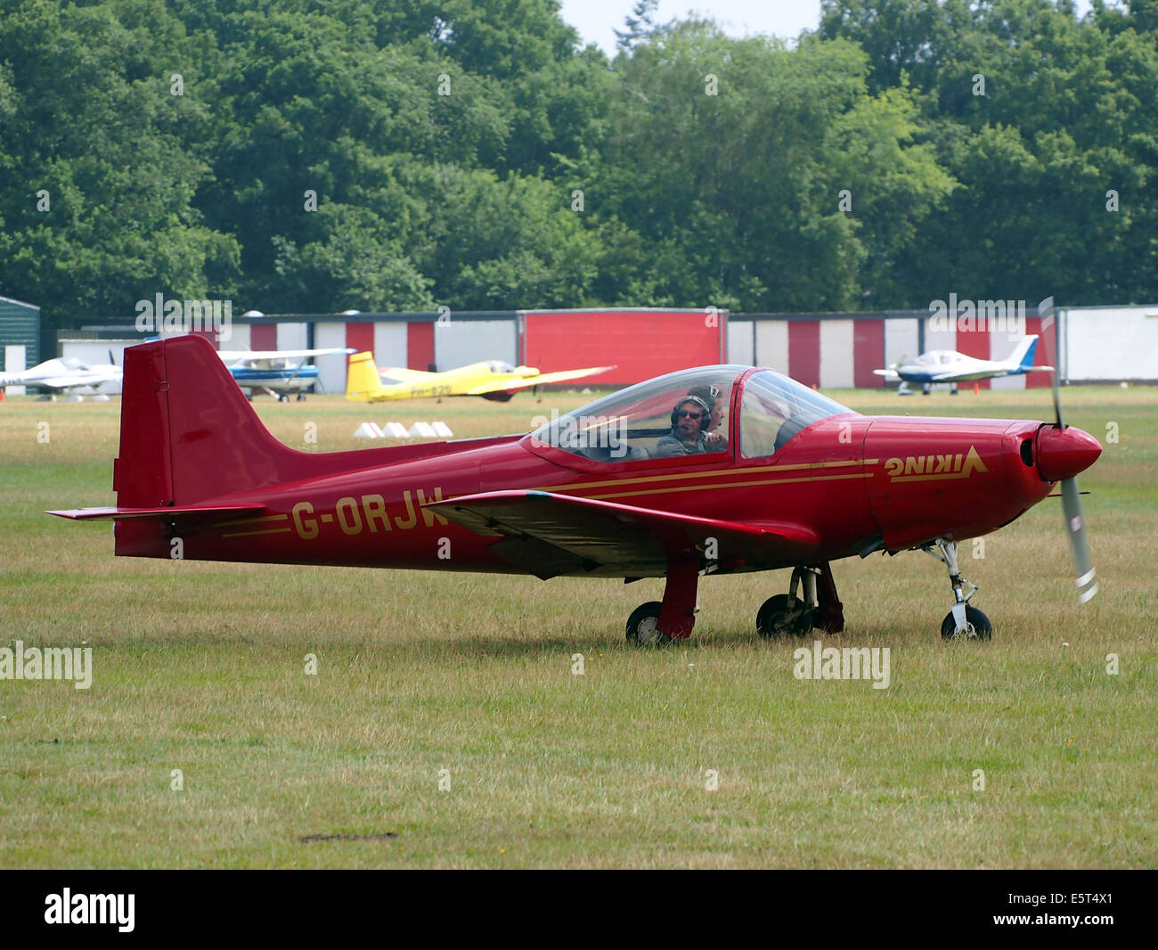 G-ORJW Laverda F8L Falco IV , takeoff from Hilversum Airport (ICAO EHHV), photo2 - Stock Image