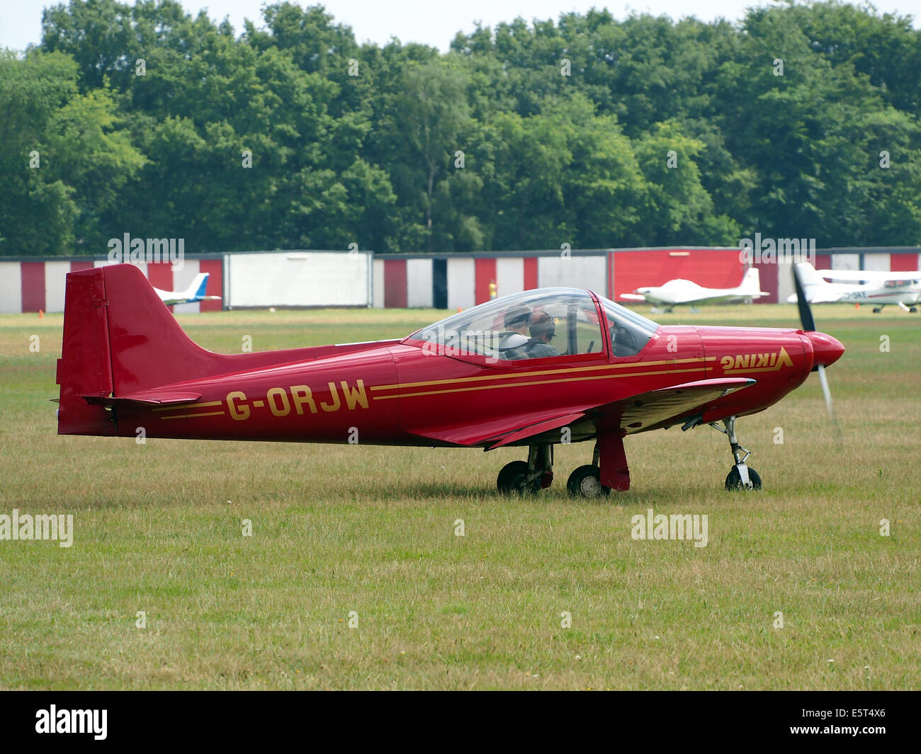 G-ORJW Laverda F8L Falco IV , takeoff from Hilversum Airport (ICAO EHHV), photo3 - Stock Image