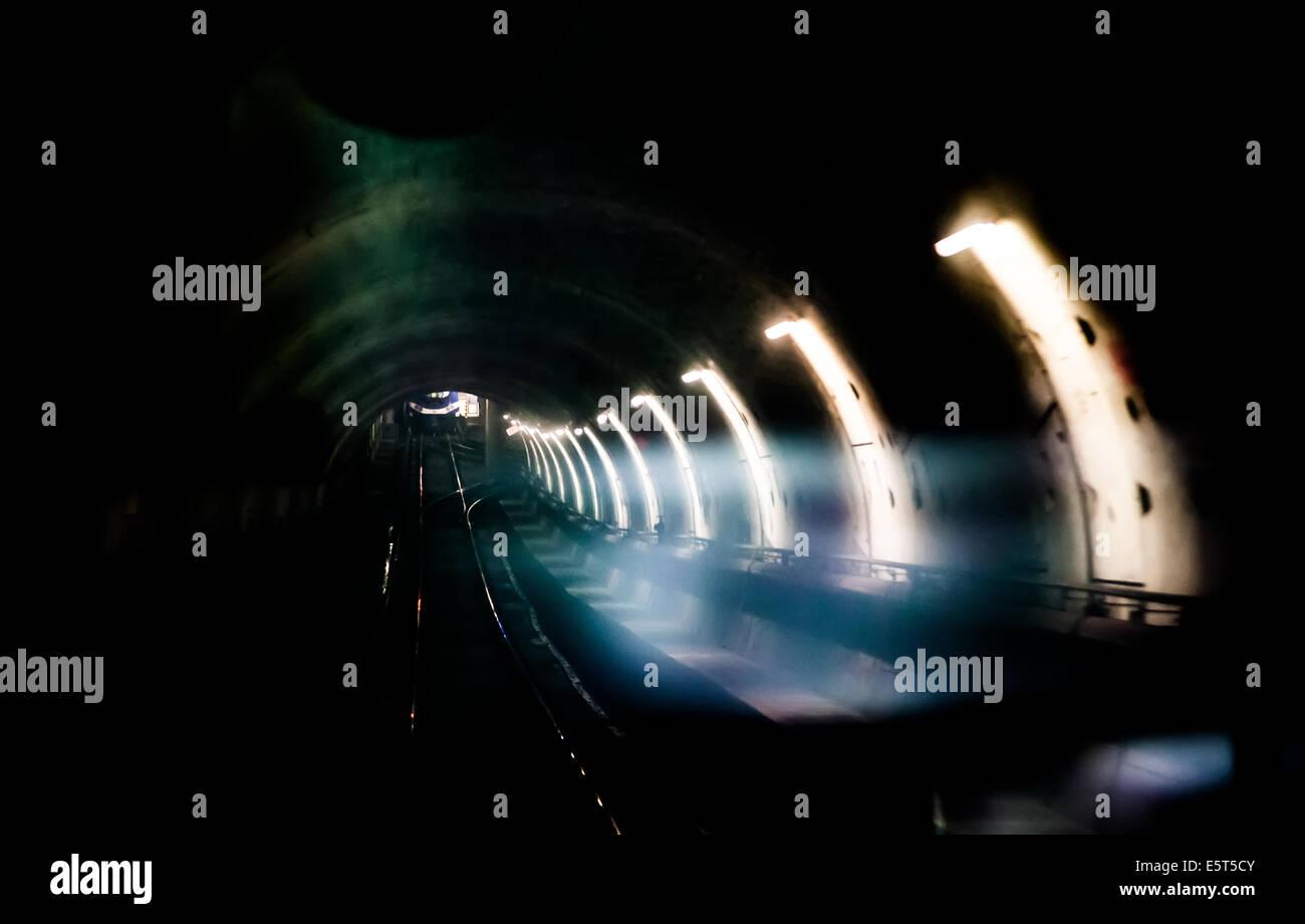 Railway tunnel on the Vancouver SkyTrain Stock Photo