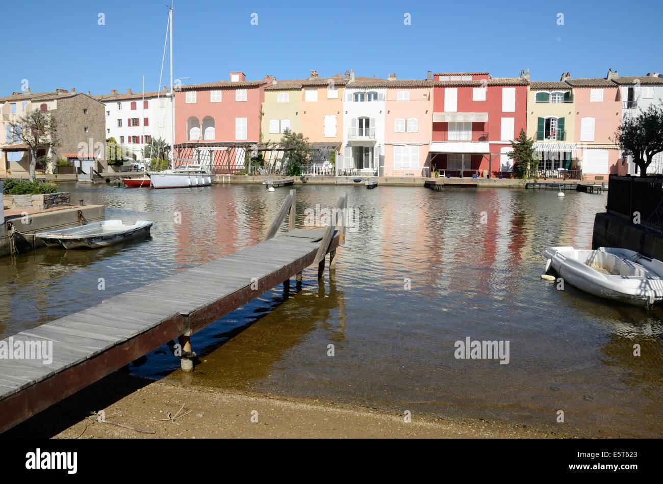 Waterside Houses at Port Grimaud Resort Town Var Côte d'Azur France - Stock Image