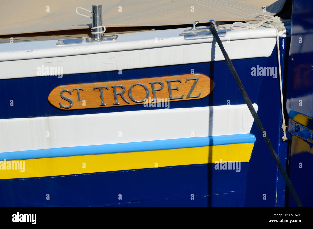 Saint Tropez Traditional Wooden Boat or Fishing Boat in Port or Harbor St Tropez Var Provence France Stock Photo