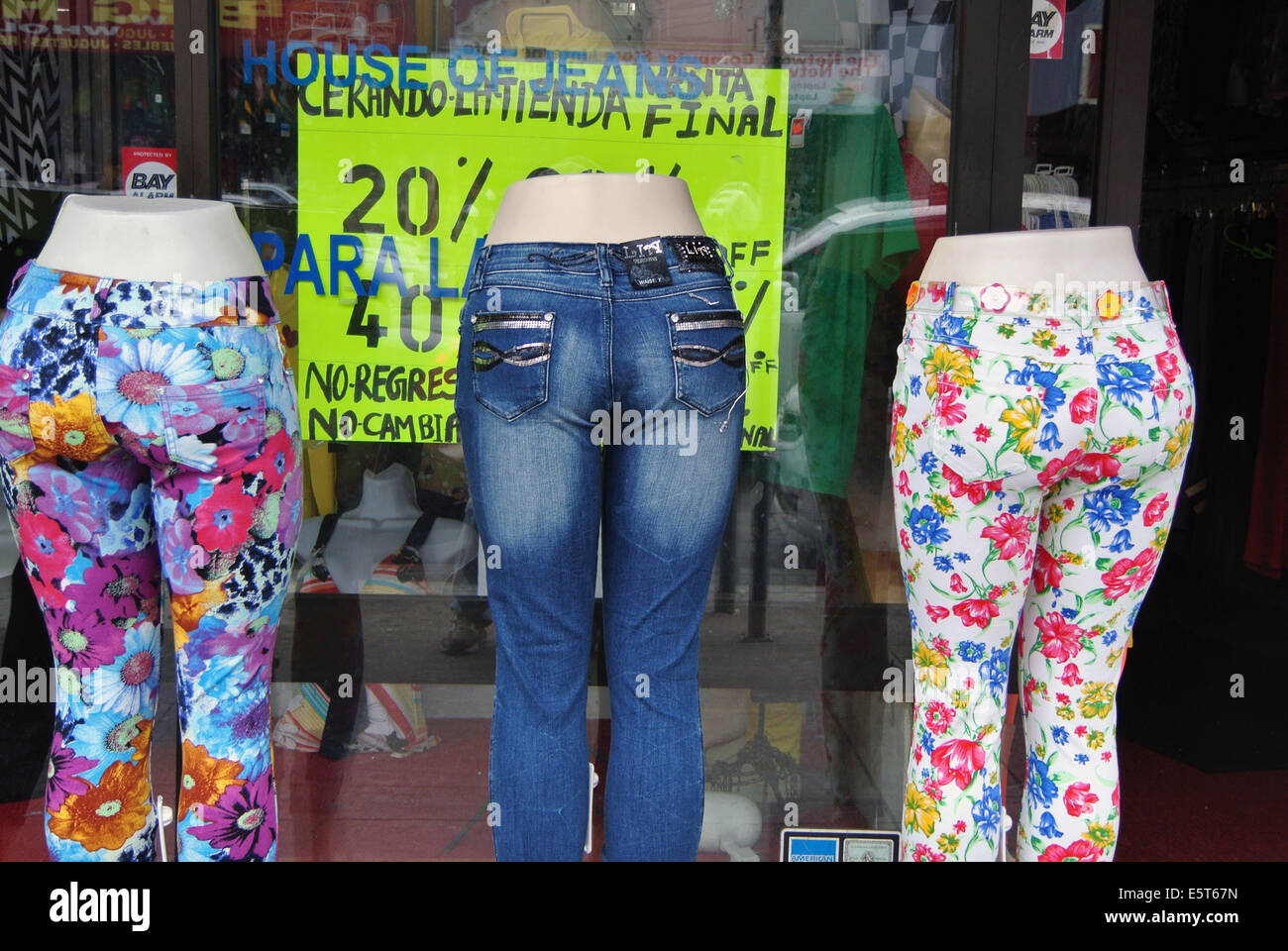 hot pants in window of Mission district Boutique - Stock Image