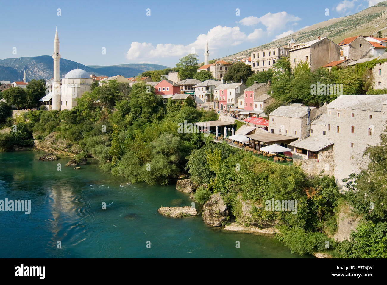 Old town of Mostar and Neretva river from the Old Bridge (Stari Most), Bosnia and Herzegovina. - Stock Image