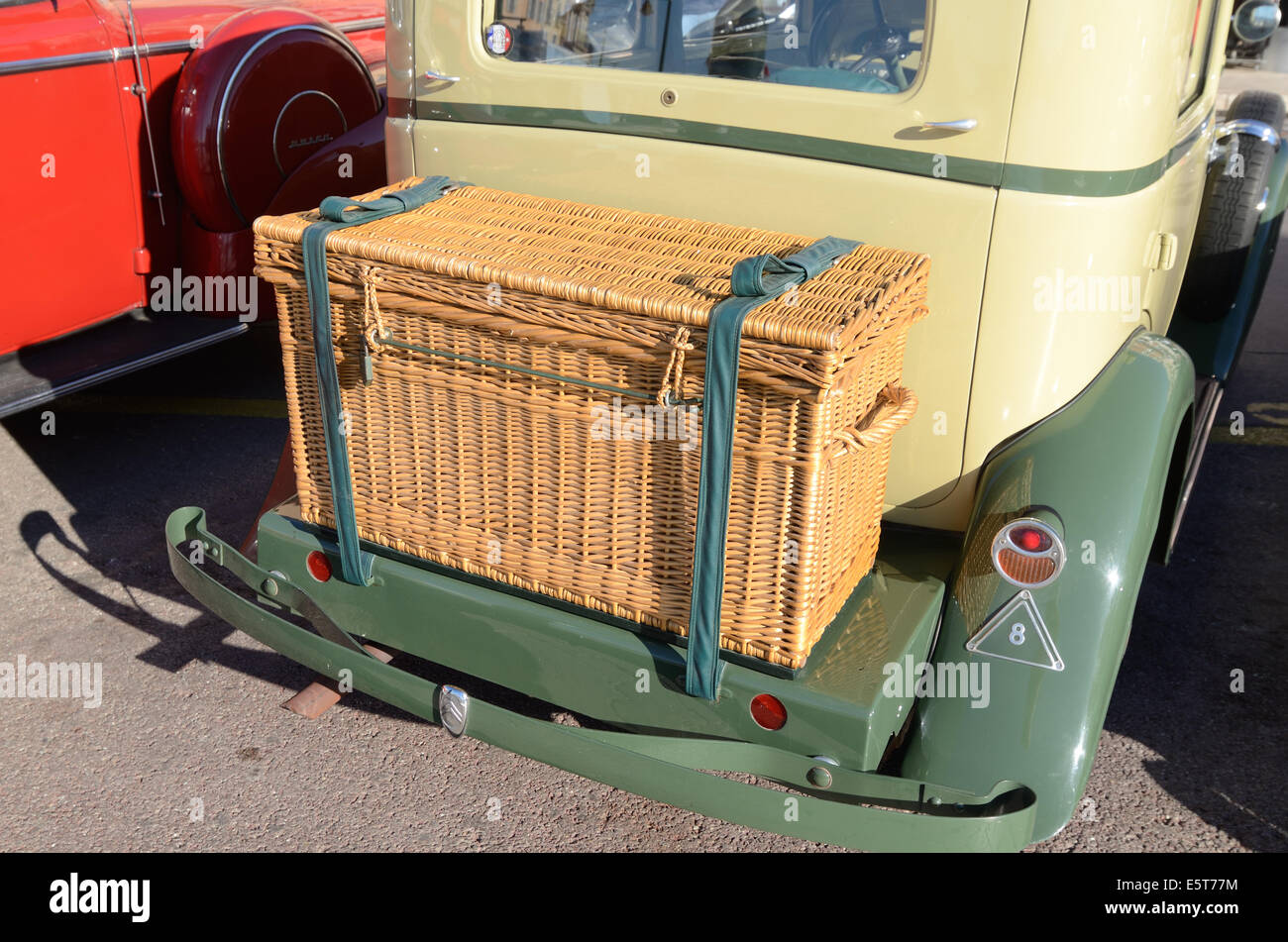 Vintage Wicker Luggage Basket on Rear of Veteran 1933 Citroën or Citroen Rosalie Car or Automobile Saint Tropez - Stock Image