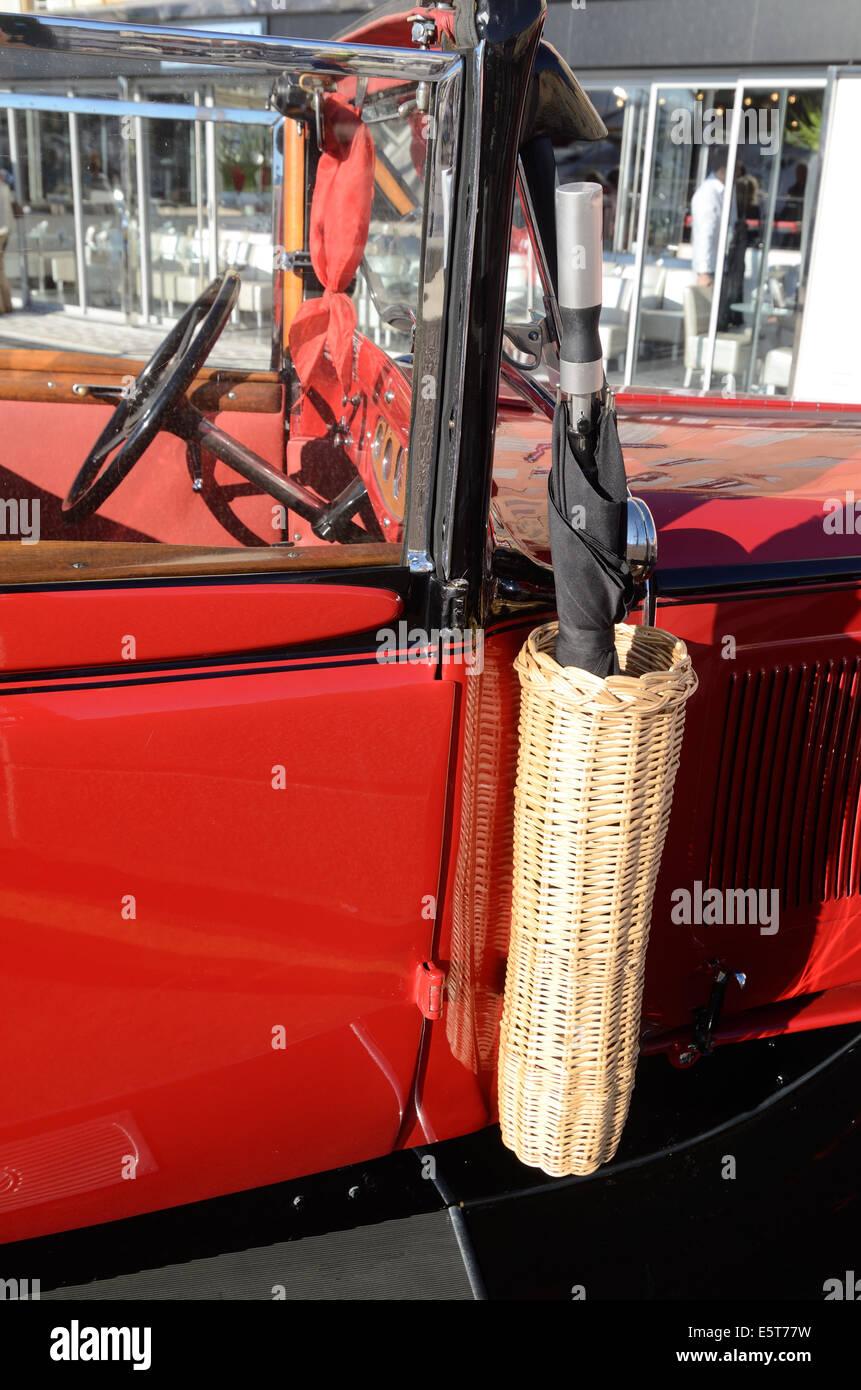 Umbrella Holder or Wicker Basket on Vintage Peugeot 601 Car or Automobile 1934-35 Saint Tropez Var France - Stock Image