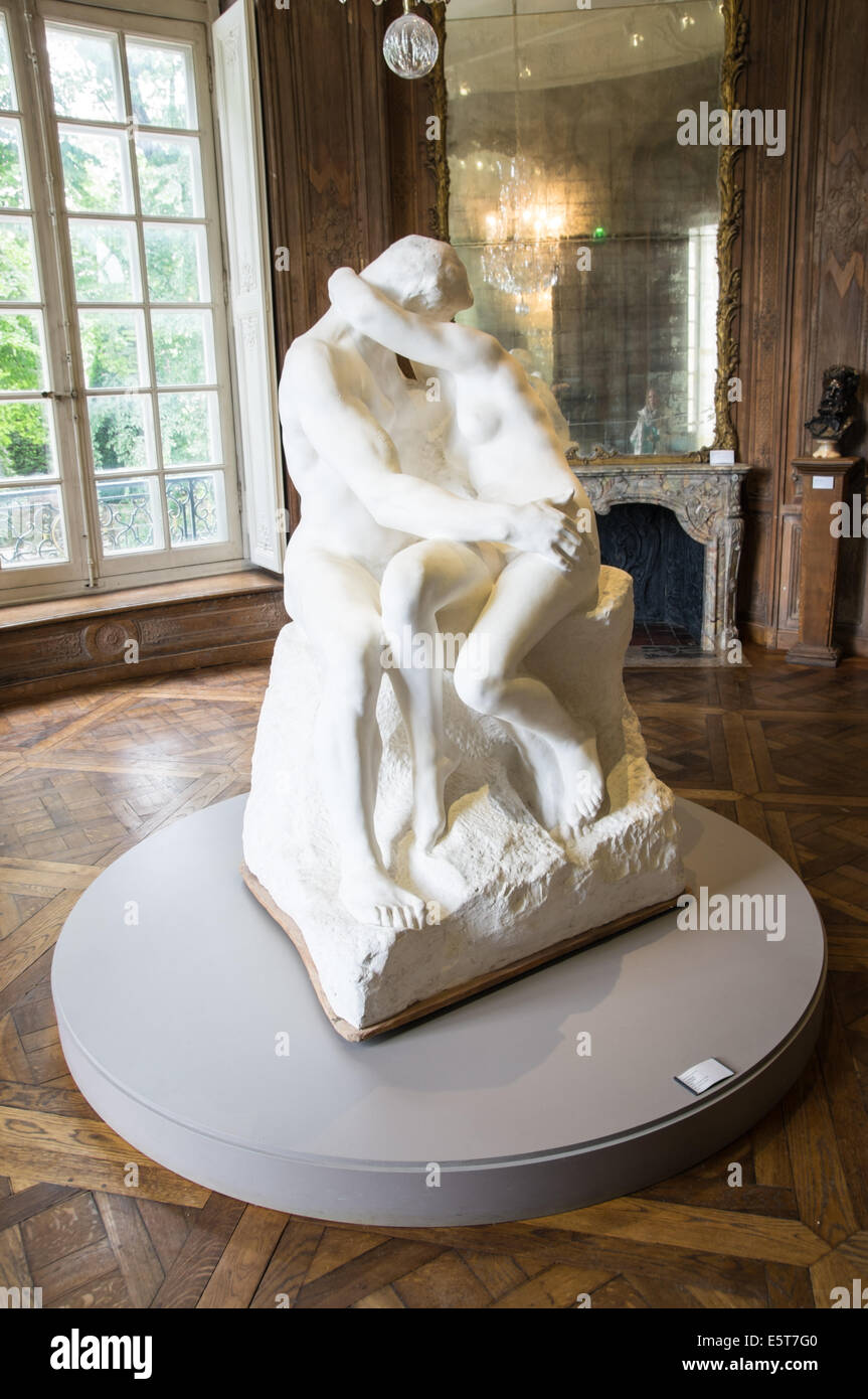 The Kiss, marble sculpture by Auguste Rodin, Rodin Museum in Paris, France Stock Photo