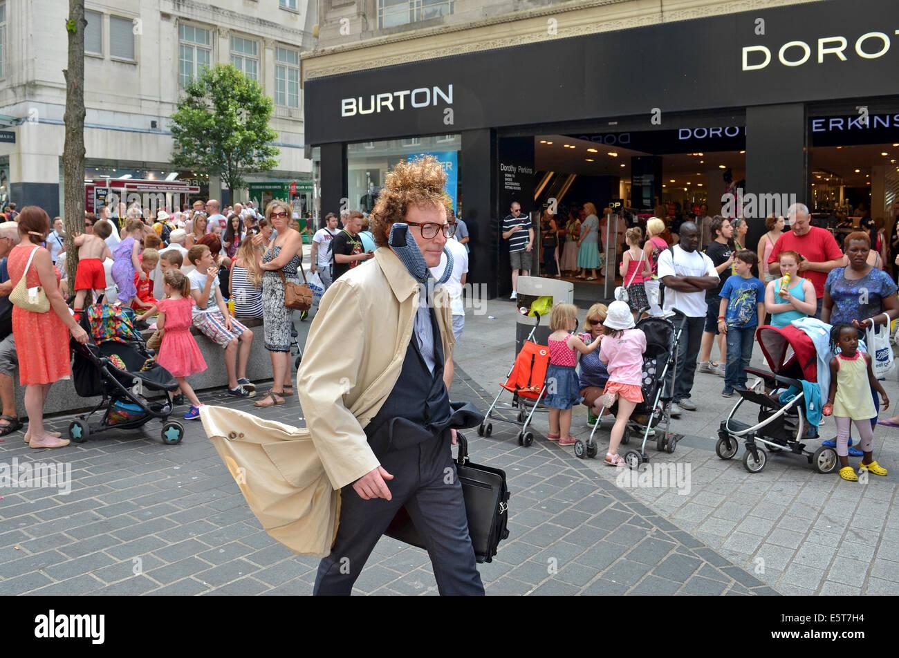 human statue street performer in liverpool, uk Stock Photo