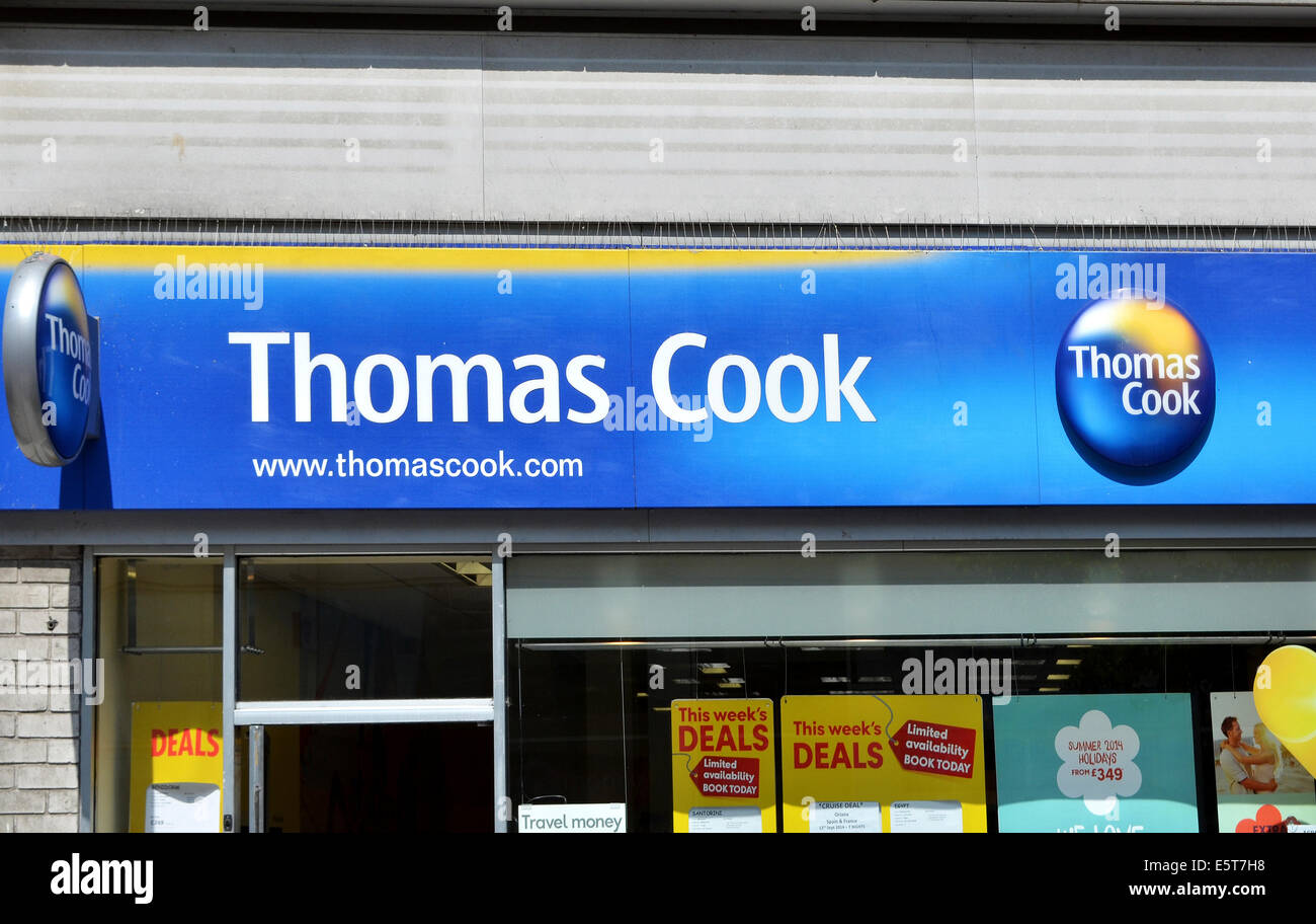 A Thomas Cook travel agency in a UK high street - Stock Image