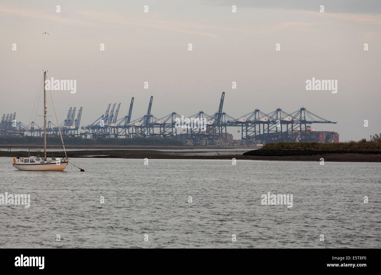 Yacht moored on River Orwell, Suffolk and cranes at Felixstowe Docks, taken at dusk. - Stock Image