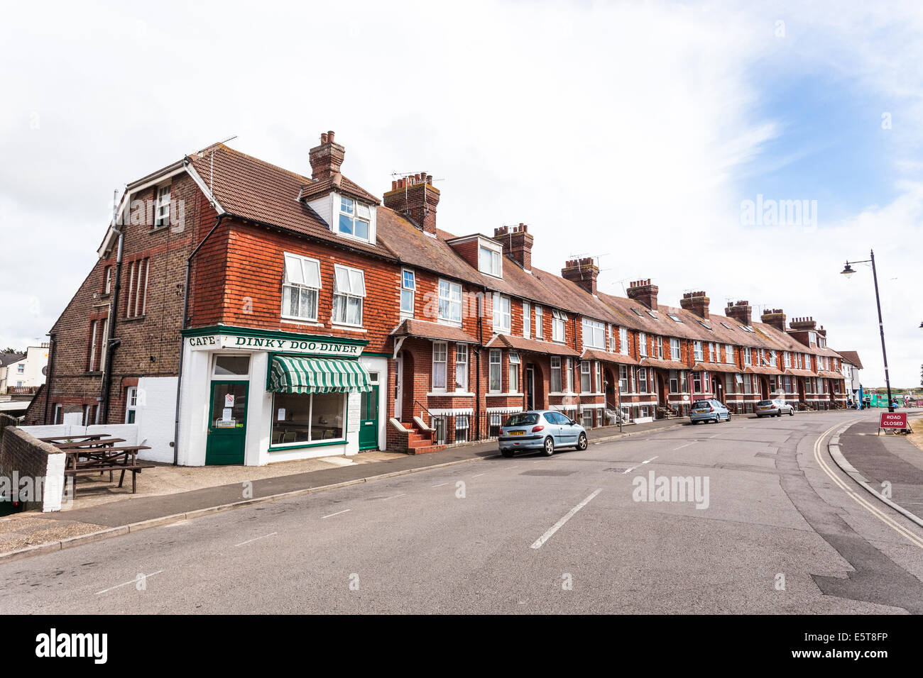 Row of terraced houses, Worthing, West Sussex, England, UK - Stock Image