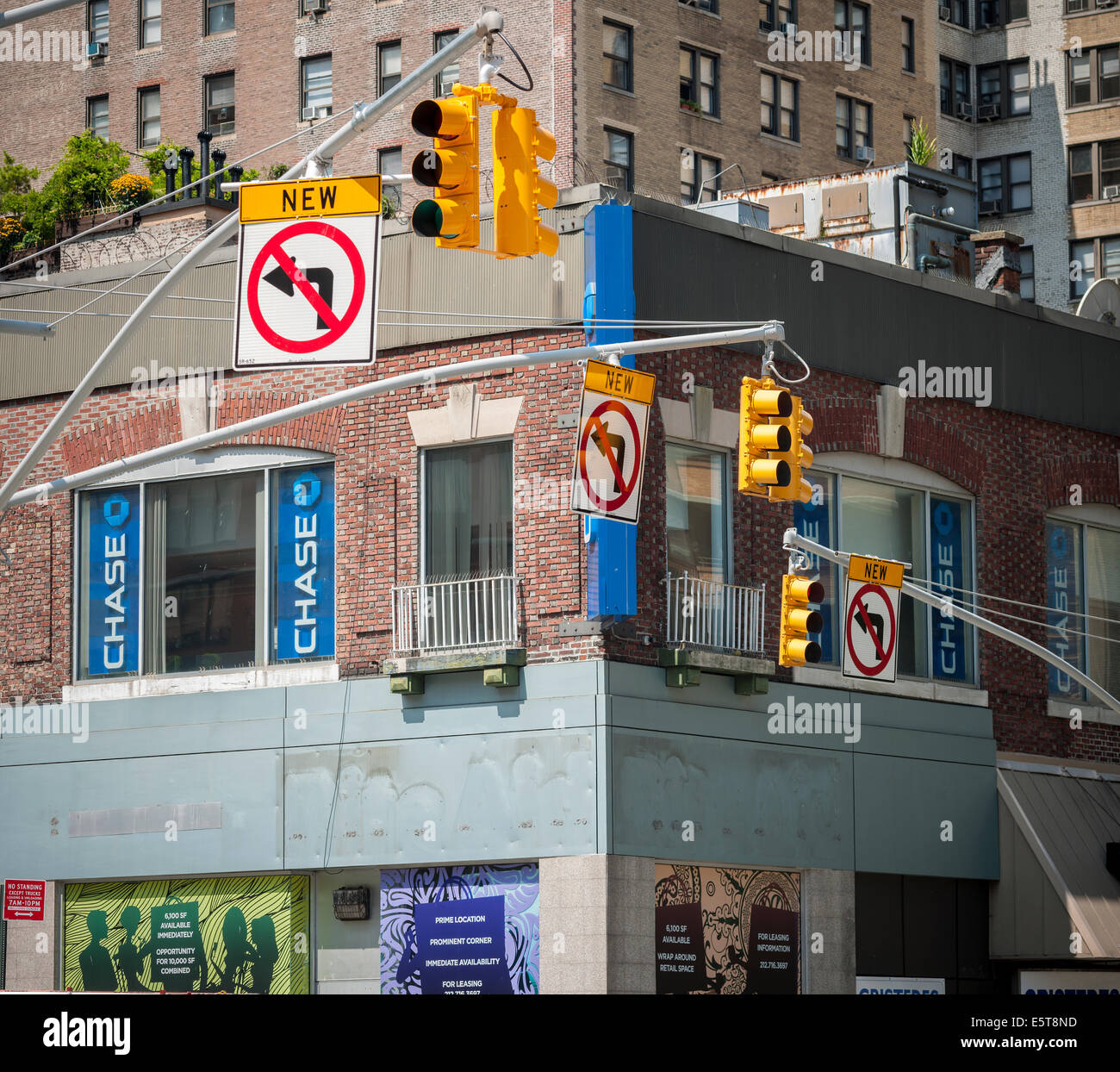 New traffic restrictions at Broadway and West 96th Street in New York - Stock Image