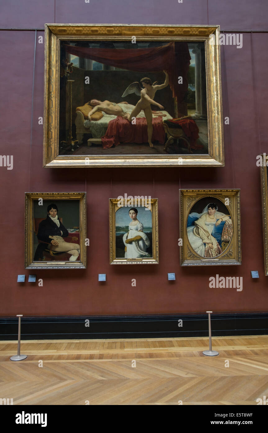 Priceless paintings at the Louvre Museum Paris, France - Stock Image