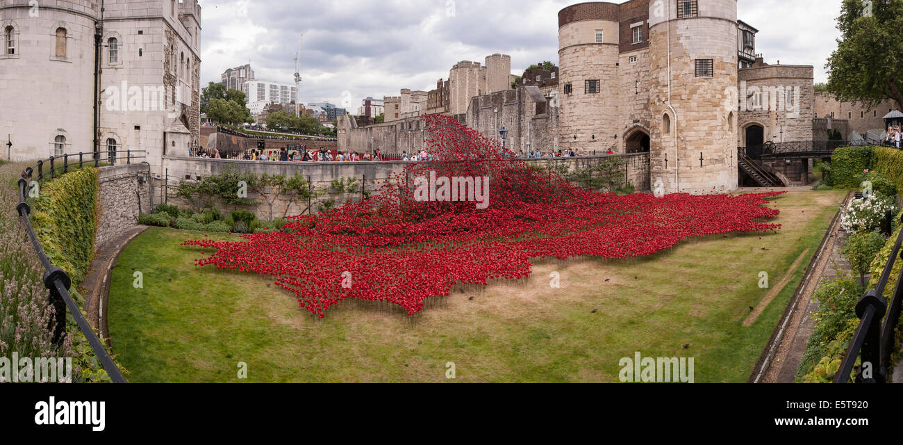 London, UK, 5 August 2014.  In the dry moat of the Tower of London, the evolving art installation called 'Blood - Stock Image