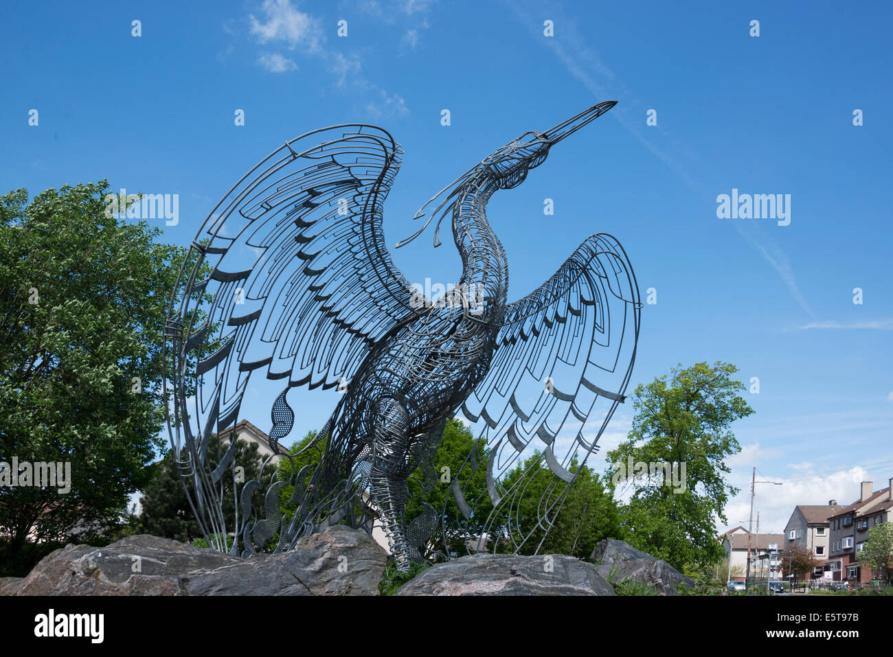 Easterhouse Phoenix in East End of Glasgow  - a sculpture by Andy Scott. - Stock Image