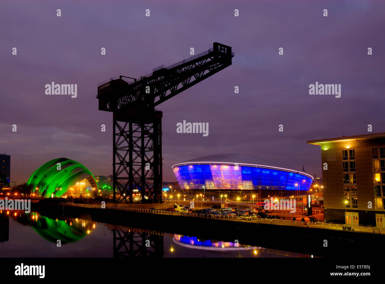 Glasgow at night - the Finnieston Crane with the Hydro and the Clyde Auditorium (Armadillo) - Stock Image