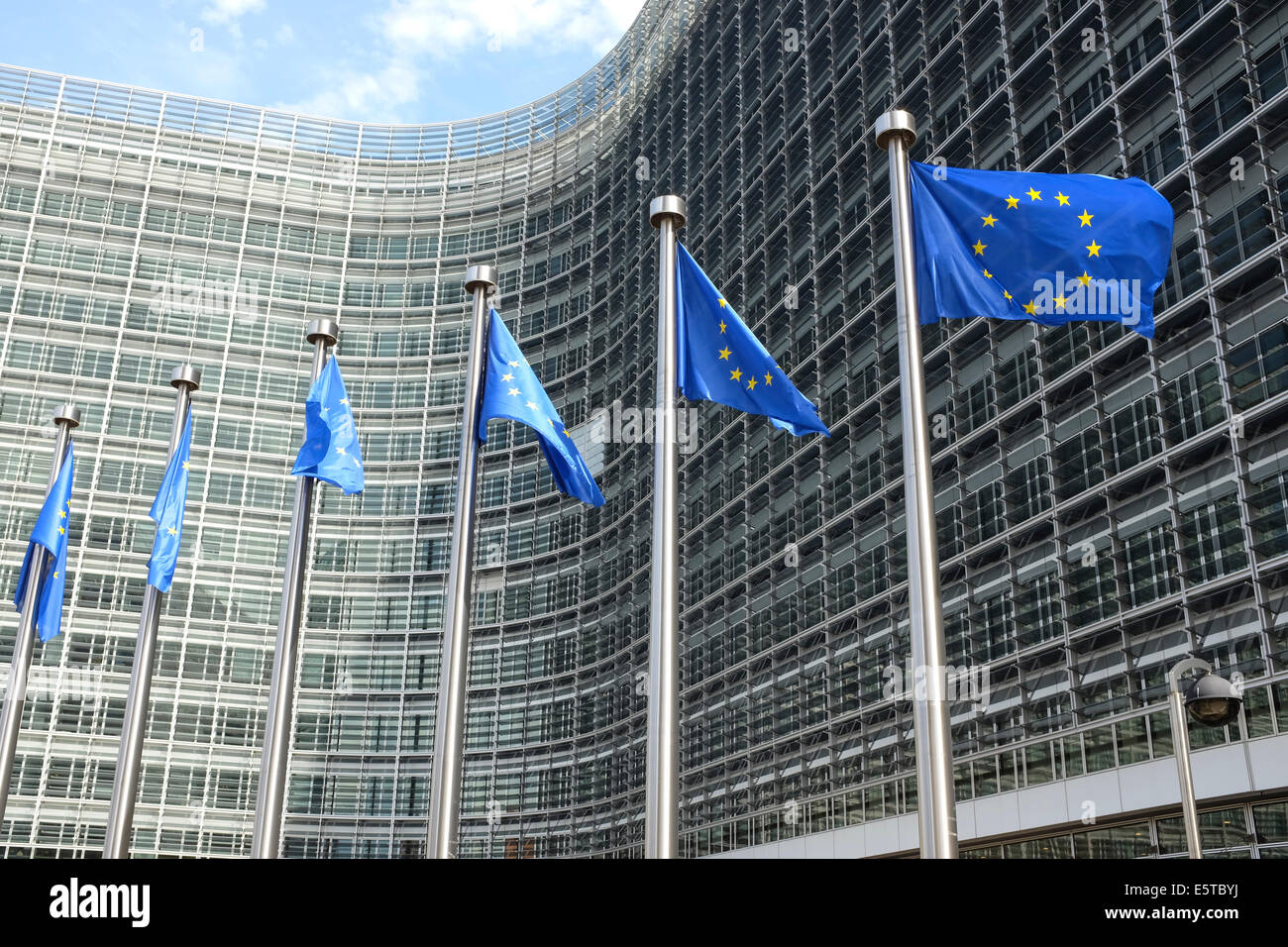 European Union flags in front of the Berlaymont Building (European Commission), Wetstraat 200, Brussels, Belgium - Stock Image