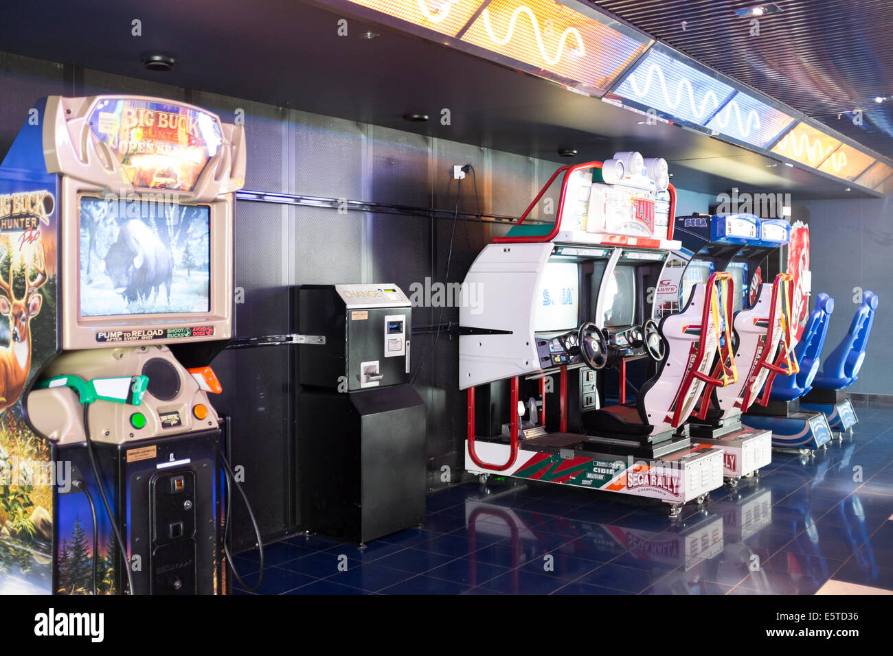 Arcade games machines on board a ferry - Stock Image