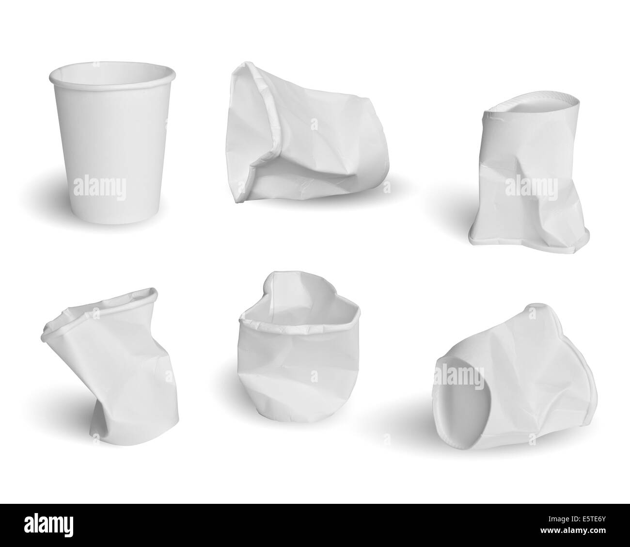 Collection of paper cups isolated on white background Stock Photo