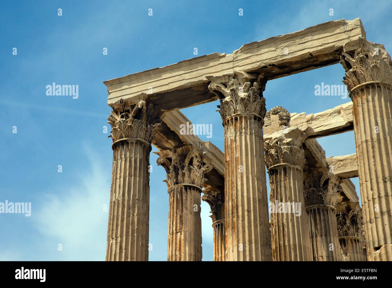 Temple of Olympian Zeus , Athens , Greece . - Stock Image