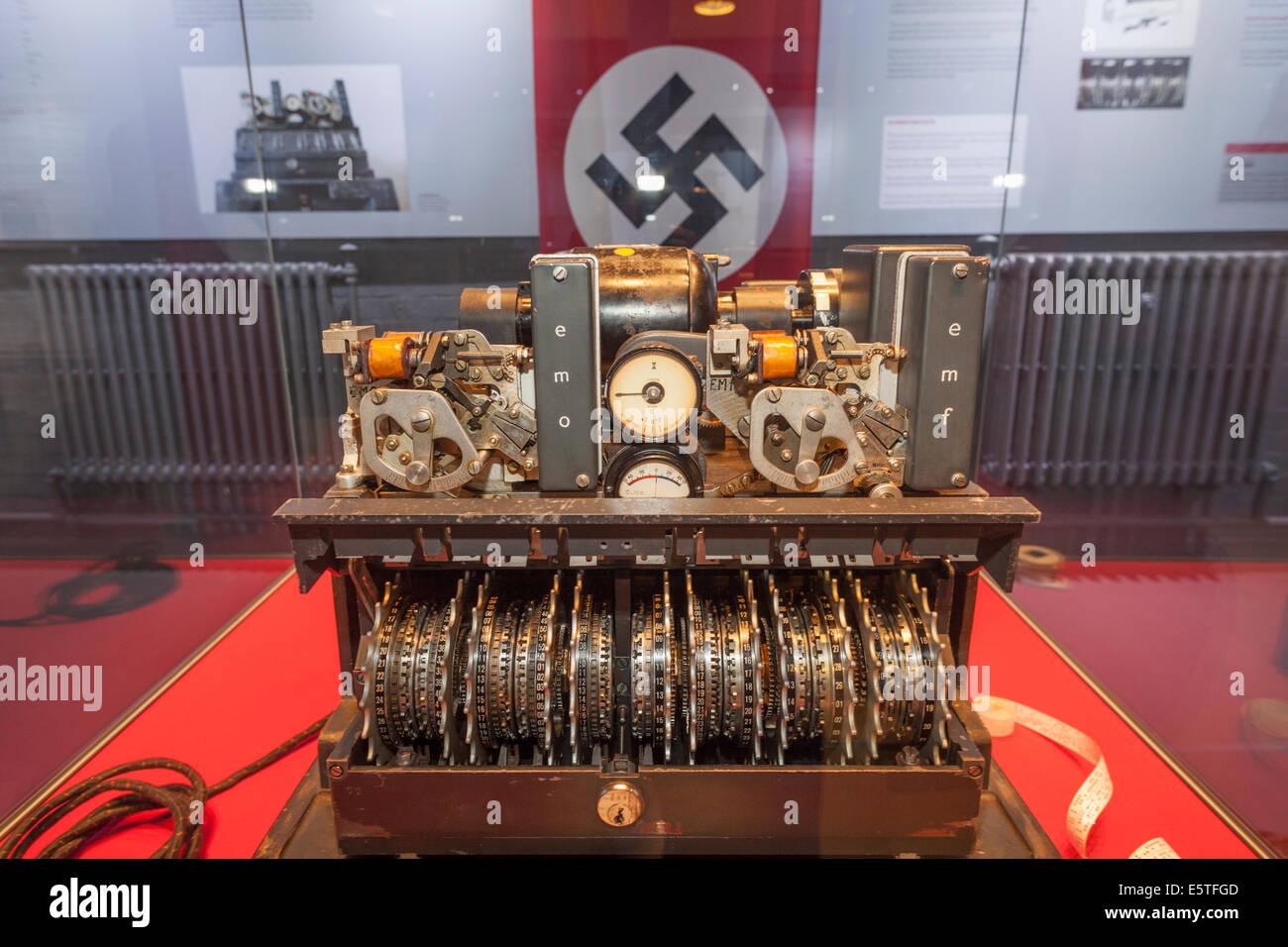 England, Buckinghamshire, Bletchley, Bletchley Park, WWII German Lorenz Cipher Machine Stock Photo