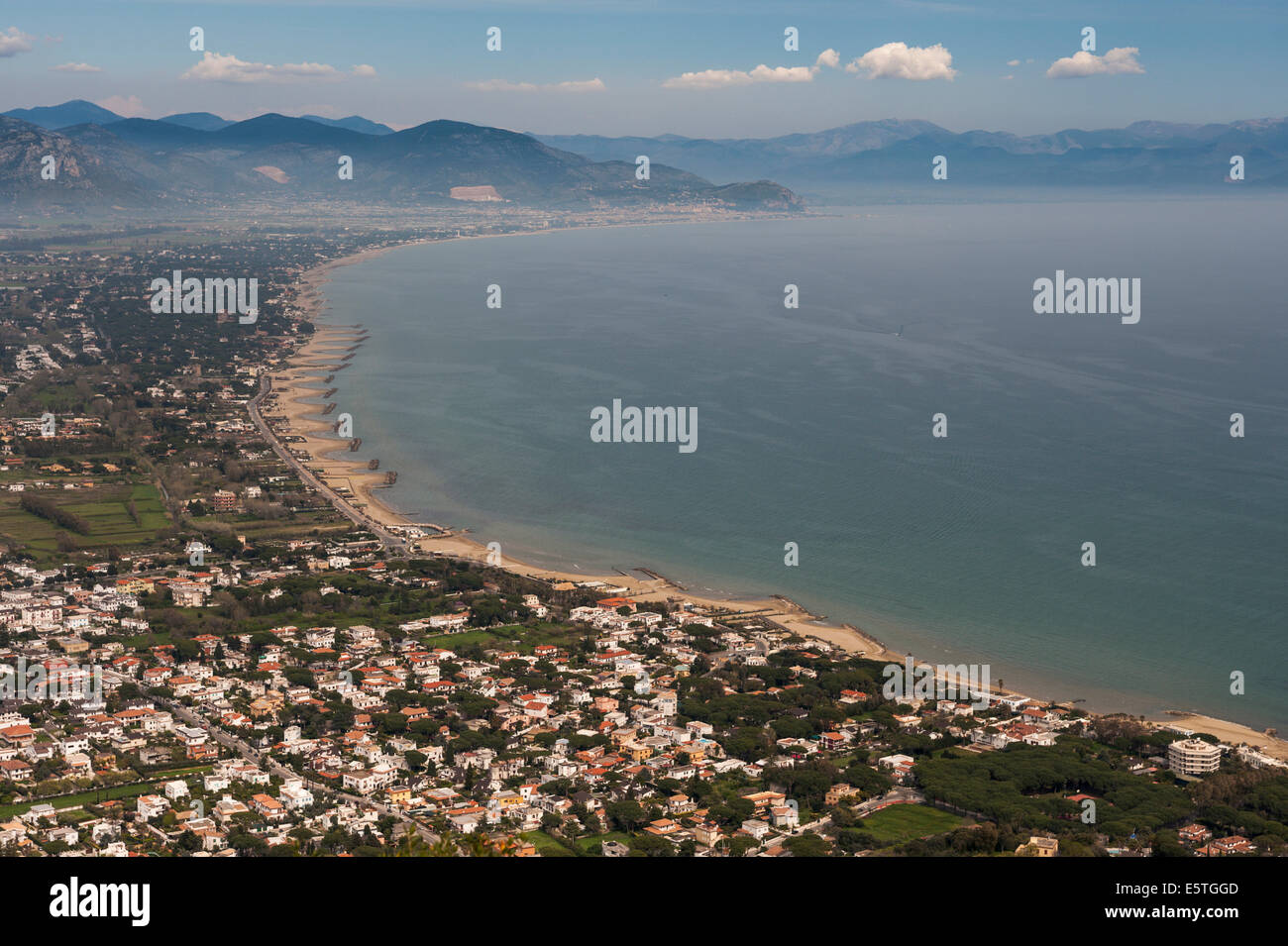 View of San Felice Circeo from the national park Parco Nazionale del Circeo, San Felice Circeo, Lazio, Italy - Stock Image