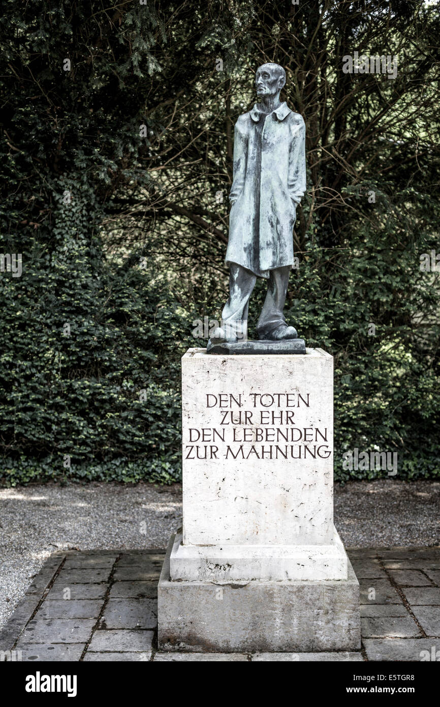 """Memorial to the """"Unknown Prisoner"""" by Fritz Koelle, Dachau Concentration Camp, Dachau District, Bavaria, Germany Stock Photo"""