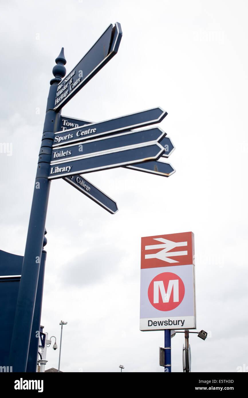 Dewsbury Train Station Sign - Stock Image