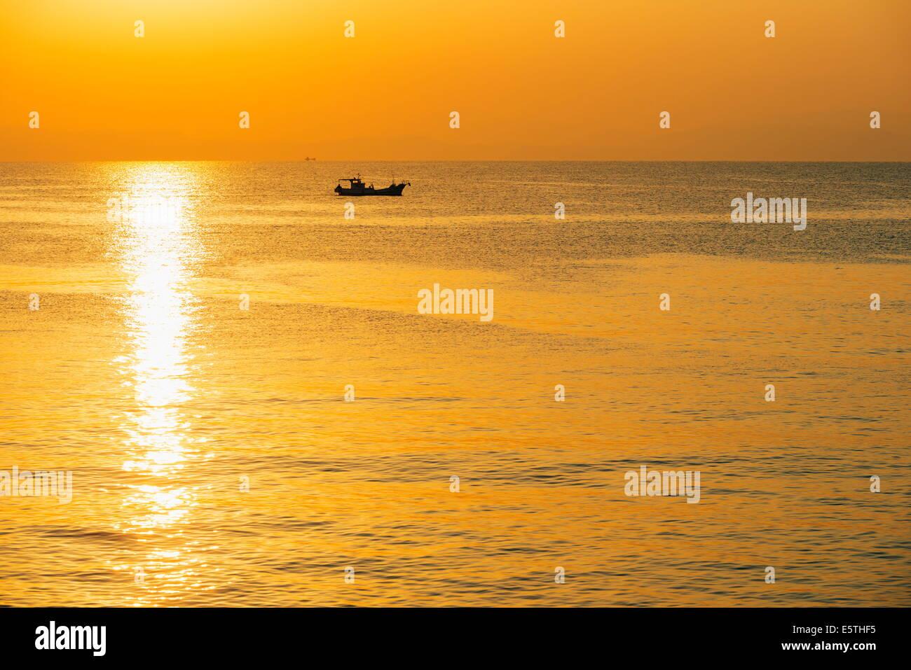 Sunrise in Kagoshima Bay, Kagoshima, Kyushu, Japan, Asia - Stock Image
