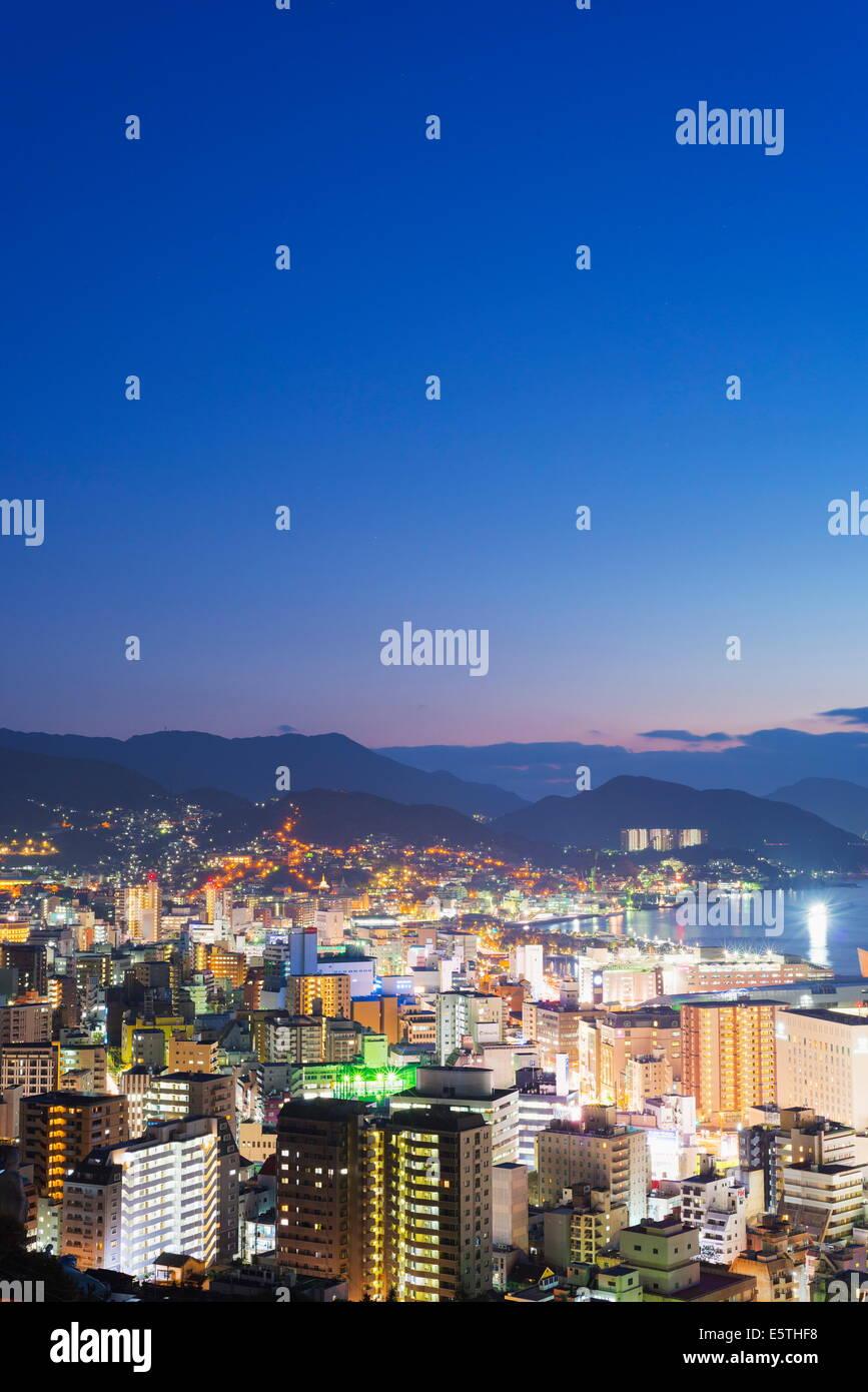 Nagasaki Bay at night, Nagasaki, Kyushu, Japan, Asia - Stock Image