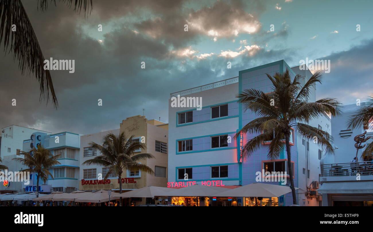 Art Deco District, Ocean Drive, South Beach, Miami Beach, Florida, United States of America, North America - Stock Image