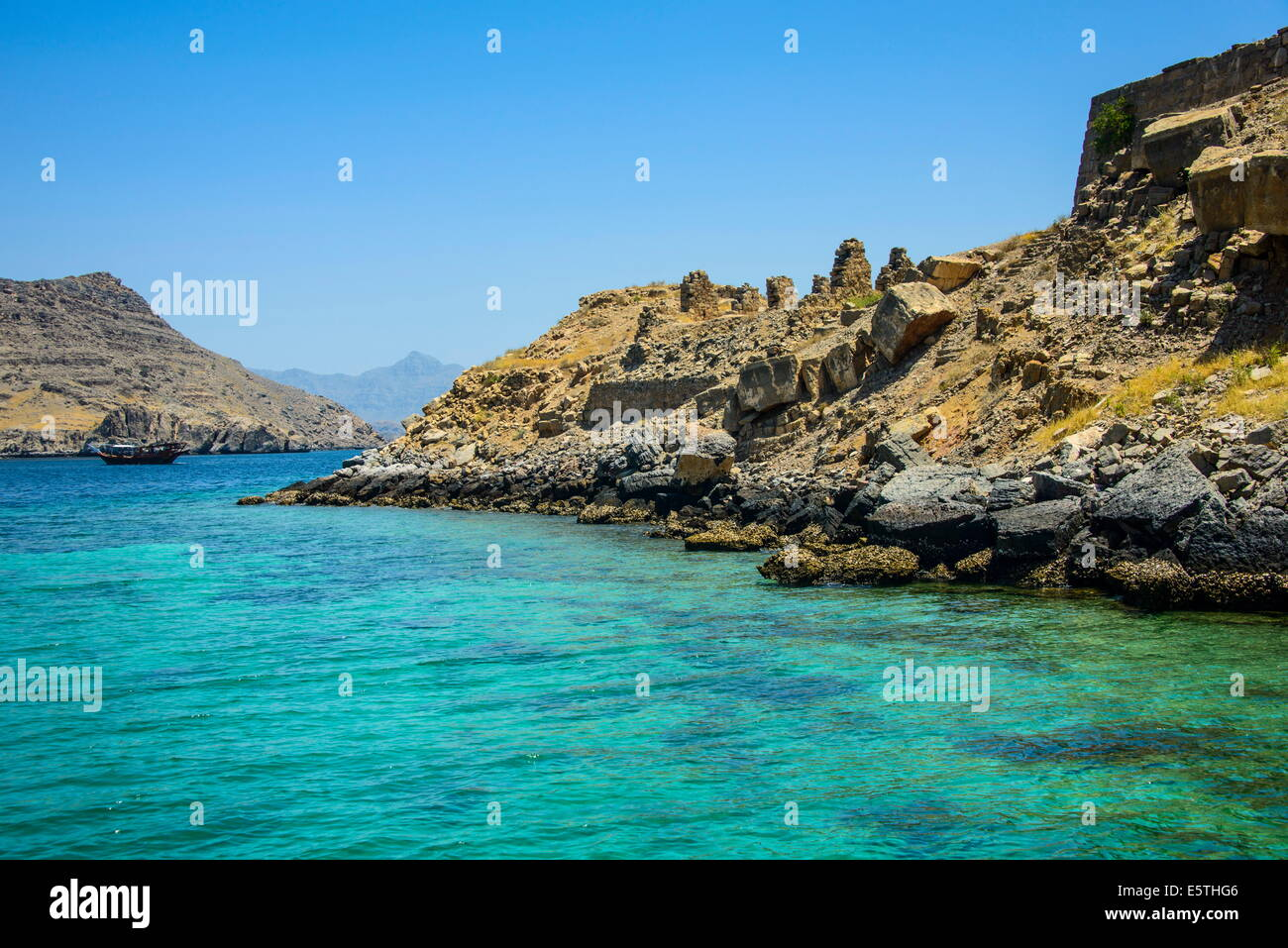 Telegraph Island in the Khor ash-sham fjord, Musandam, Oman, Middle East - Stock Image