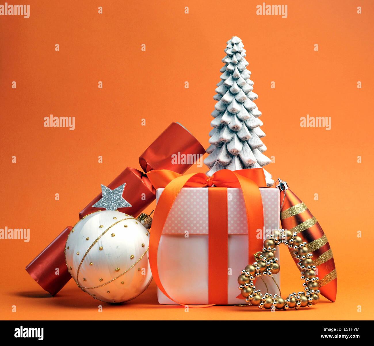 Orange Theme Christmas Tree Gift High Resolution Stock Photography And Images Alamy