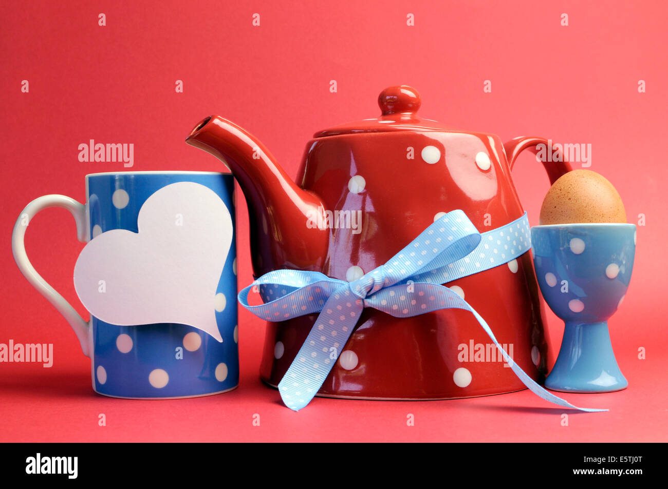 Red, white and blue breakfast with polka dot tea pot, cup mug, and ...