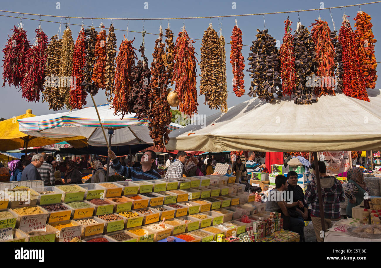 Colorful spice stall Selçuk open air market Turkey - Stock Image