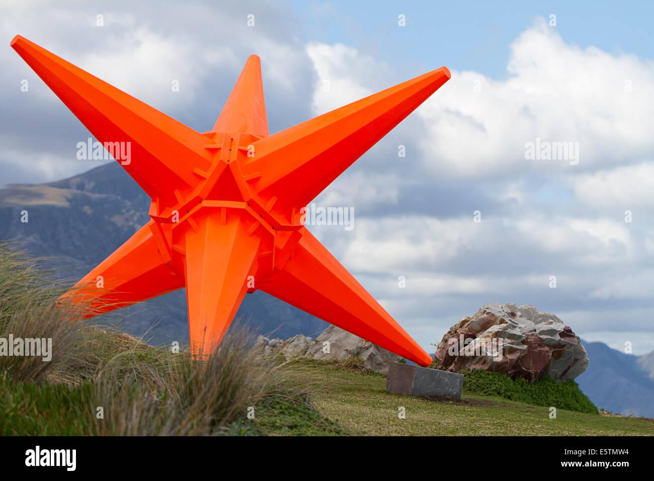 Weird modern sculpture of giant traffic cones - Stock Image